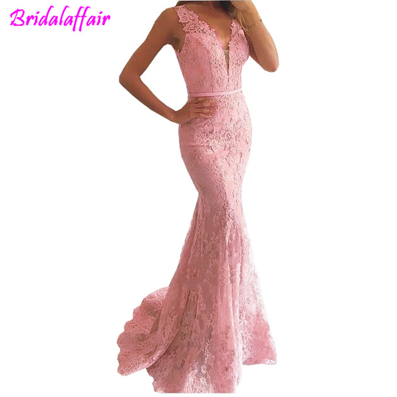 luxury pink Mermaid   Prom     Dress   V-Neck Appliqued With Lace See Through Back Women Formal   Dresses   2019 robe de bal femme longue