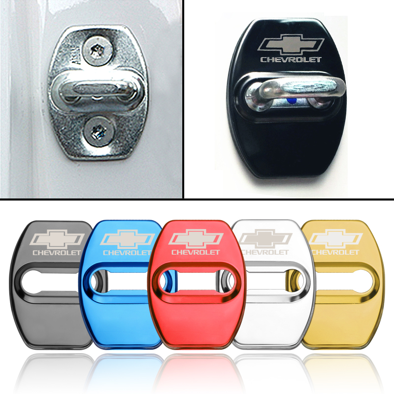 4pcs Stainless steel Car Styling Door Lock Protective Cover For Chevrolet Captiva Colorado Cruze Spark Malibu Trax Aveo