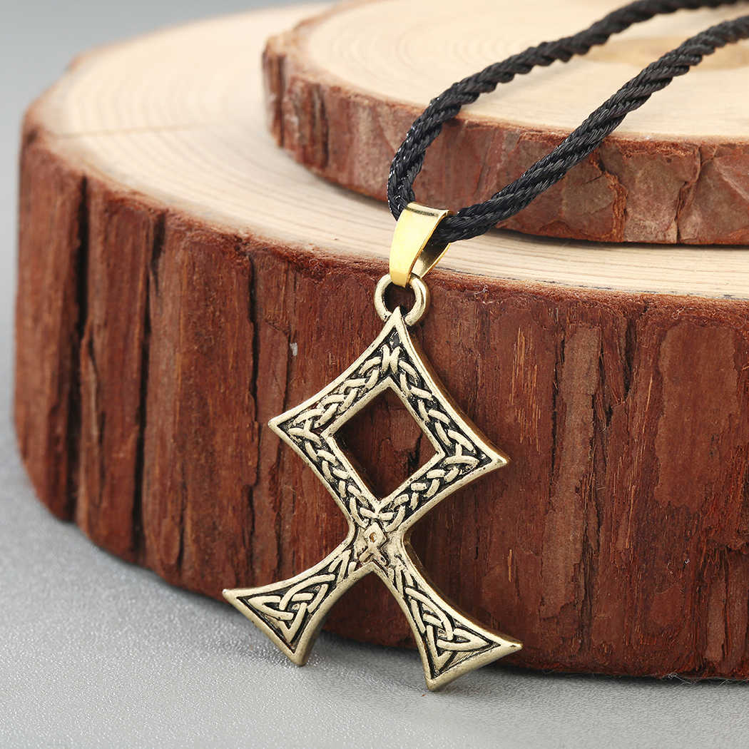 QIAMNI Vintage Viking Odal runy Norse Amulet krzyż wisiorki naszyjniki dla mężczyzn słowiańska pogańska węzeł talizman biżuteria akcesoria