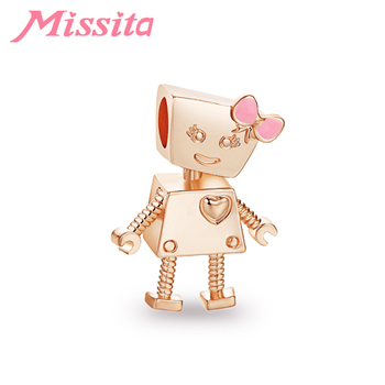 MISSITA Cute Bella Robot Beads fit Brand Charms Bracelet Necklace for Women Jewelry Making Ladies Jewelry Accessories Hot Sale image