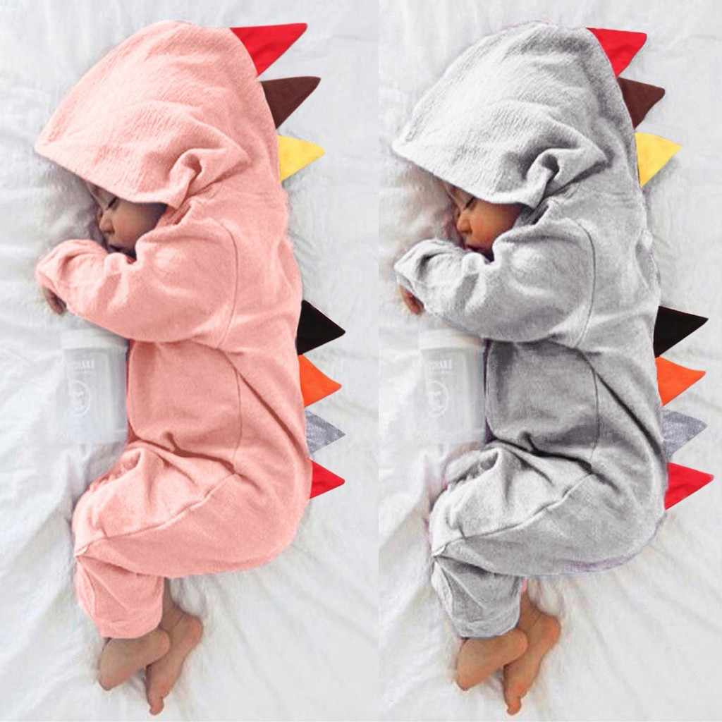 3D Dinosaur Costume Solid pink gray Rompers warm spring autumn cotton 2019 spring rompers Newborn Cotton tracksuit A1
