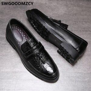 Image 4 - Zapatos de cocodrilo clásicos italianos para hombre, mocasines de oficina, elegantes, de cuero Formal, Sepatu Slip On Pria