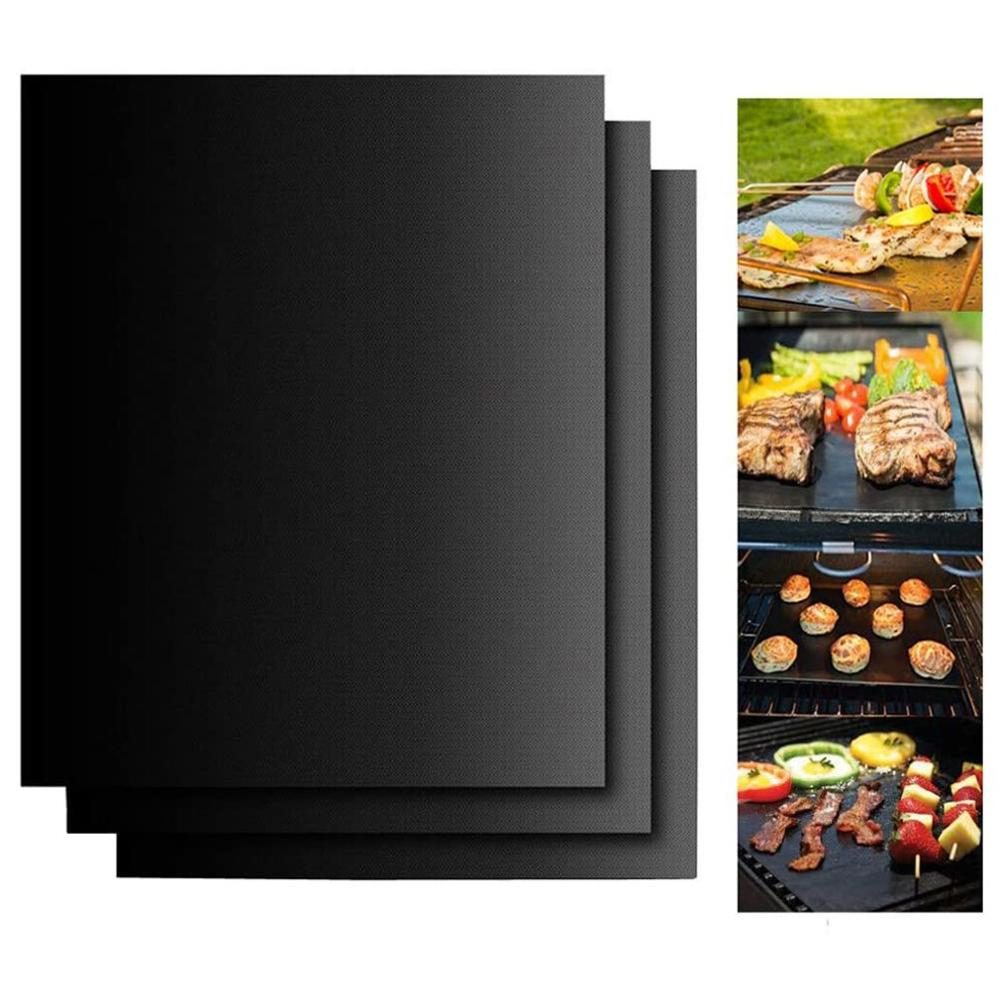 BBQ Grill Mat Non-stick Heat Resistance Reusable Barbecue Baking Pad Outdoor Picnic Party Easily Cleaned BBQ Grill Mesh Mat