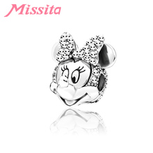 MISSITA Cute Bowknot Minnie Charms fit Pandora Bracelets & Necklaces for Jewelry Making Ladies Accessories
