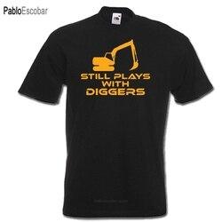 Ainda joga com escavadores engraçado digger driver jcb design t camisa nova manga curta masculino roupas de fitness topos legal