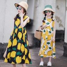 Girls Summer Dress 2020 New Beach Cotton lemon Children maxi Dress Mother and Daughter Dress Toddler Sundress Kids Clothes