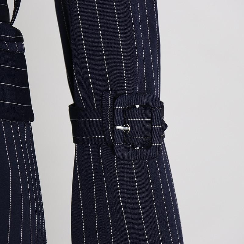 TWOTWINSTYLE elegante raya Patchwork blazer con volante con muesca manga de llamarada de Color de golpe fajas traje femenino primavera moda nuevo 2020 - 4
