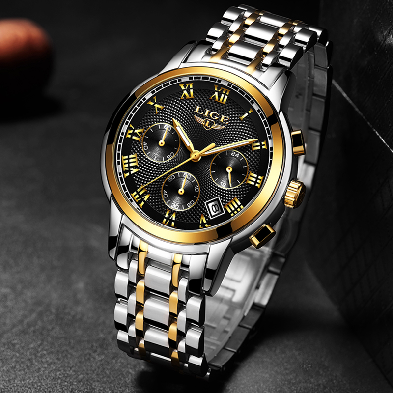 2019 New Mens Watches Top Brand Luxury LIGE Business Date Stainless Steel Quartz Watch Mens Fashion Waterproof Chronograph Male