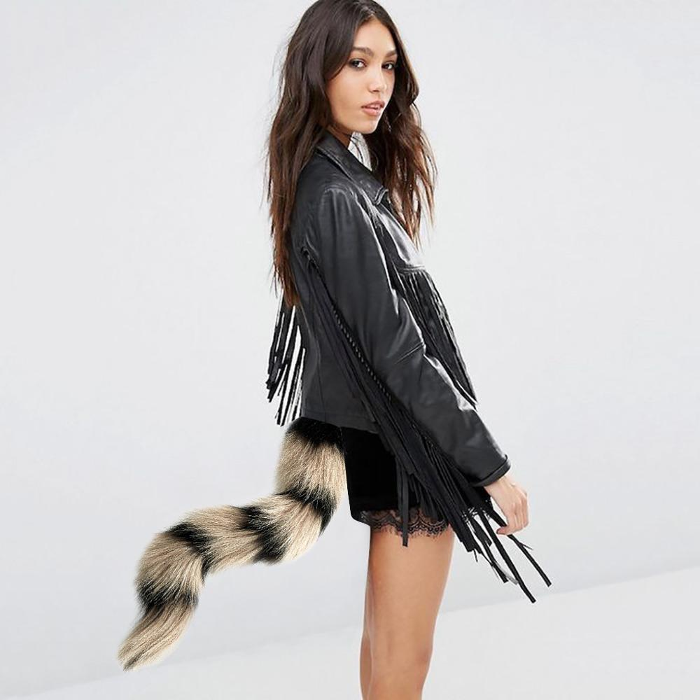 "Black /& White Tail Faux Fur Long 28/"" Fancy Dress"