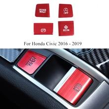 1 Set Aluminium Legierung Elektronische Handbremse Taste Pailletten Glas Lift Taste Start Taste Für Honda Civic 2016 2019 Zubehör