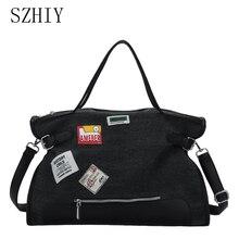 Large Capacity Canvas Bag For Women Designer Handbags Shopper Tote Black Bolso Tela Mujer Crossbody Big Travel Patch Casual Soft
