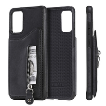 PU Leather Coated TPU Phone Stand Cover With Zipper Pocket Card Holder Case for Samsung Galaxy S20 Ultra S10 Note 10 Plus protective pu leather case w card holder slots for samsung galaxy note 3 n9000 black
