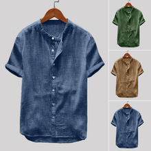 New  Short Sleeve Stand Collar Solid Color Cotton Linen Men's Shirt