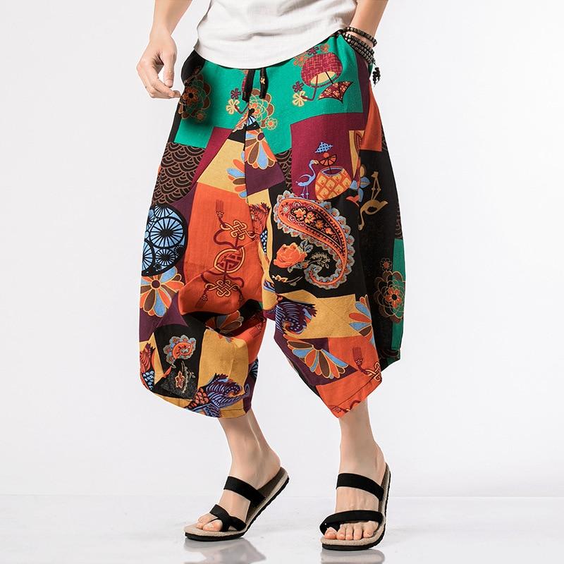 2019 Chinese-style Capri Loose Pants Men's Summer Printed Lantern Loose And Plus-sized Harem Low-Grade Big Crotch Baggy Pants