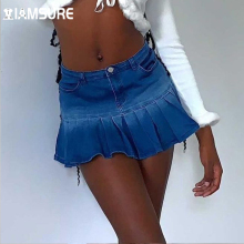 IAMSURE Gradient Printed Pleated Skirt With Shorts Preppy Style Basic Mid-Waisted Mini Denim Skirt Women 2021 Casual Streetwear