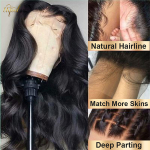 Image 3 - Body Wave Lace Front Pruik Natuurlijke Haarlijn 13X4 Menselijk Haar Pruiken Lichaam Wave Braziliaanse Pre Geplukt Lace Front menselijk Haar Pruiken 150%