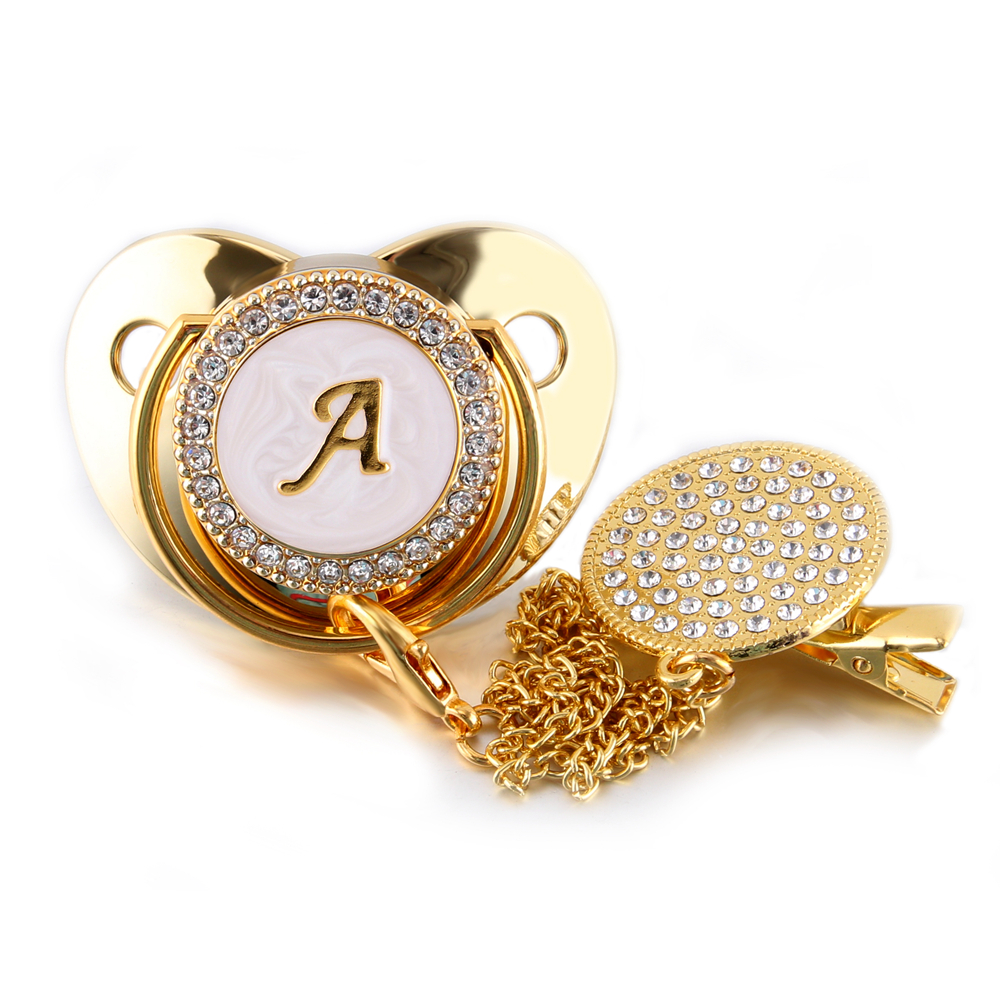 26 Name Initial Letter Baby Pacifier and Pacifier Clips BPA Free Silicone Infant Nipple Gold Bling Newborn Dummy Soother 5