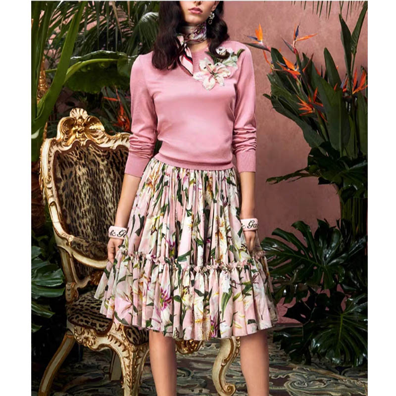 Cosmicchic Women Long Sleeve Round Neck Cashmere Knitted Floral Beaded Sequins SweaterLily Flowers Pullover Pink Sweater