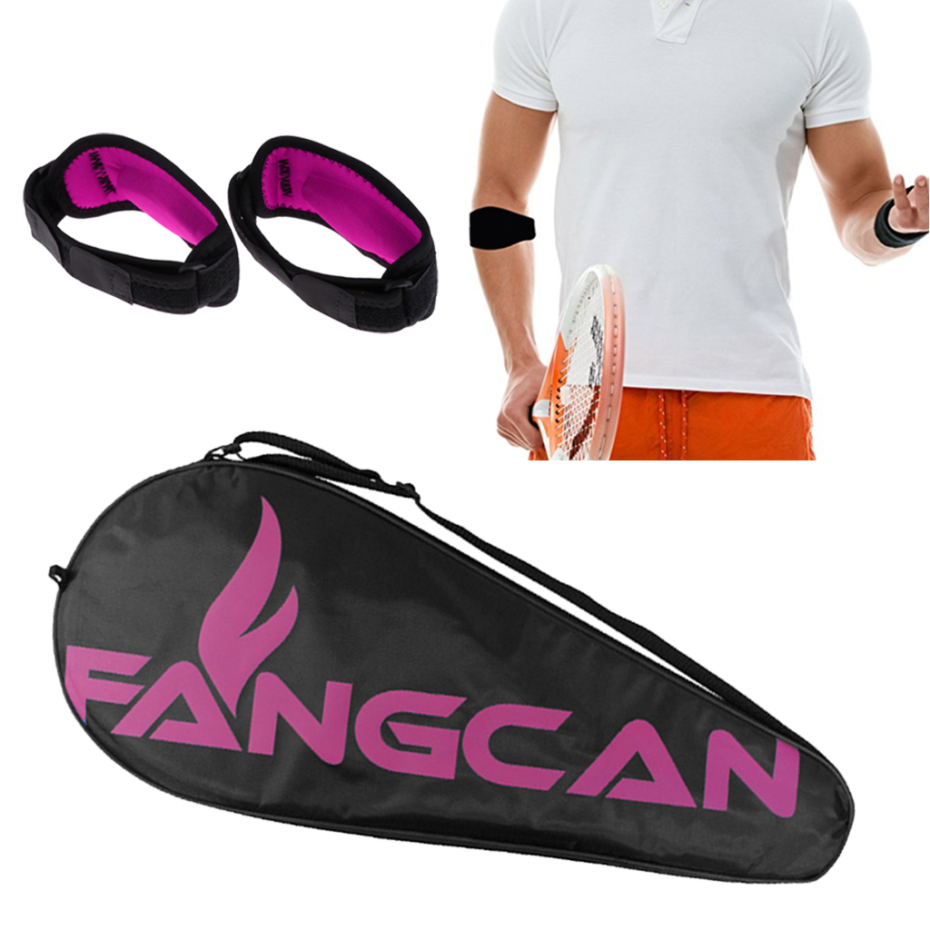 Waterproof Tennis Racket Cover Carrying Bag With 2-Count Elbow Brace Support With Compression Pad - 2 Colors