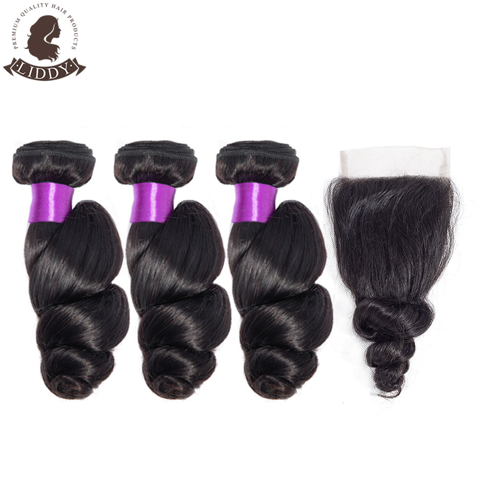 Liddy Loose Wave Bundles With Closure Peruvian Hair Bundles With Closure 100% Human Hair Natural Color Non-remy Hair Extensions