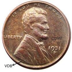 США 1931 P/S/D/SVDB один % 100% медная КОПИЯ монета