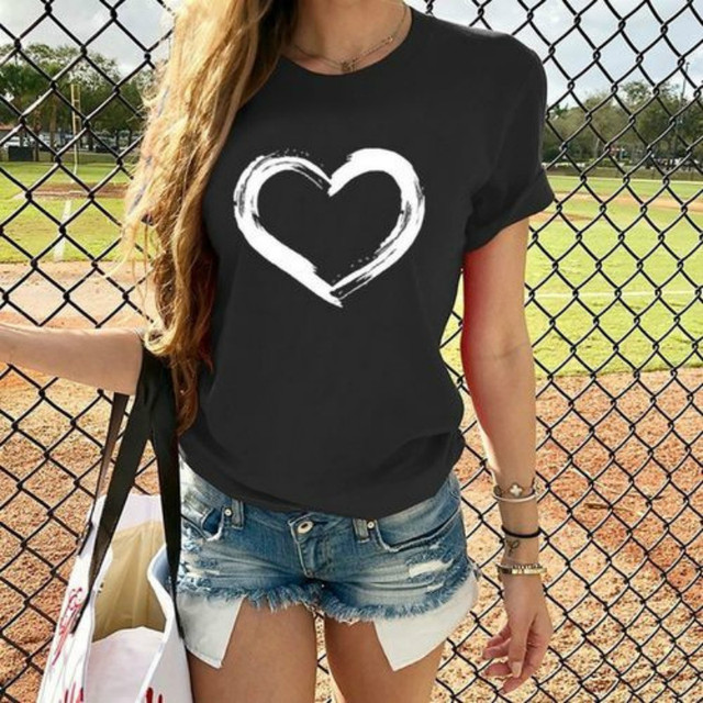 Harajuku Heart Print T Shirt Women Short Sleeve O Neck Loose Tshirt 2020 Summer Tee Tops Short Sleeve Female Camisetas Mujer