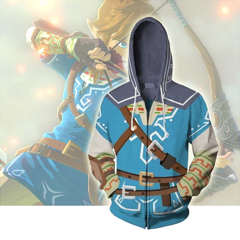 The Legend Of Zelda Cosplay Costume Hoodie Sweatshirt Tops Casual Cool Coat Jacket Fashion Sweat Shirt Zipper Hooded Hoodies
