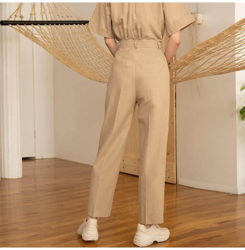 2019 Summer Women Solid Button Pocket Casual Pants New Ol Full Length Work Cargo Trousers Beige High Waist Harem Pants in Pants amp Capris from Women 39 s Clothing