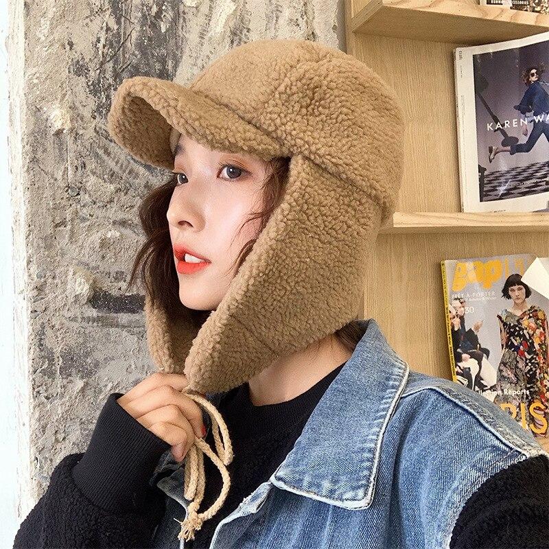 Warm with Velvet Hat Autumn  Winter Women - Cute  Winter Ear Protection Cycling Ushanka Winter
