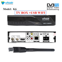 DVB-T2 K6 DVB-T H.265 HEVC Digital HD Terrestrial TV Receiver Supports Dolby Youtube DVB T2 TV Tuner Box With RJ45 LAN +USB WIFI цена и фото