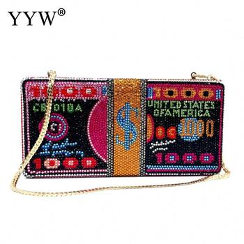 Bags For Women 2020 Stack Of Cash Hot-Fixed Crystals Money Evening Clutch Bags Diamond Wedding Dinner Purses And Handbags Luxury
