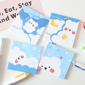 цена Concise Cute Bear Blue Memo Pad Student Portable Notepad Notebook Diary Diy Message Note Paper Kawaii Stationery School Supplies онлайн в 2017 году