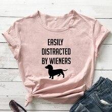 T-shirt manches courtes femme, mignon et humoristique, facilement distrait par les personnages de Wieners, cadeau pour maman et chien