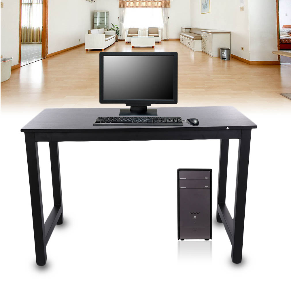 Modern Home Office Computer Desk Solid Wood & Metal Corner PC Writing Table Work Station Laptop Notebook Desk House Furniture