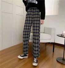 Novas calças casuais cintura elástica xadrez calças retas estudantes simples chique escritório senhoras são combinados com o original novo