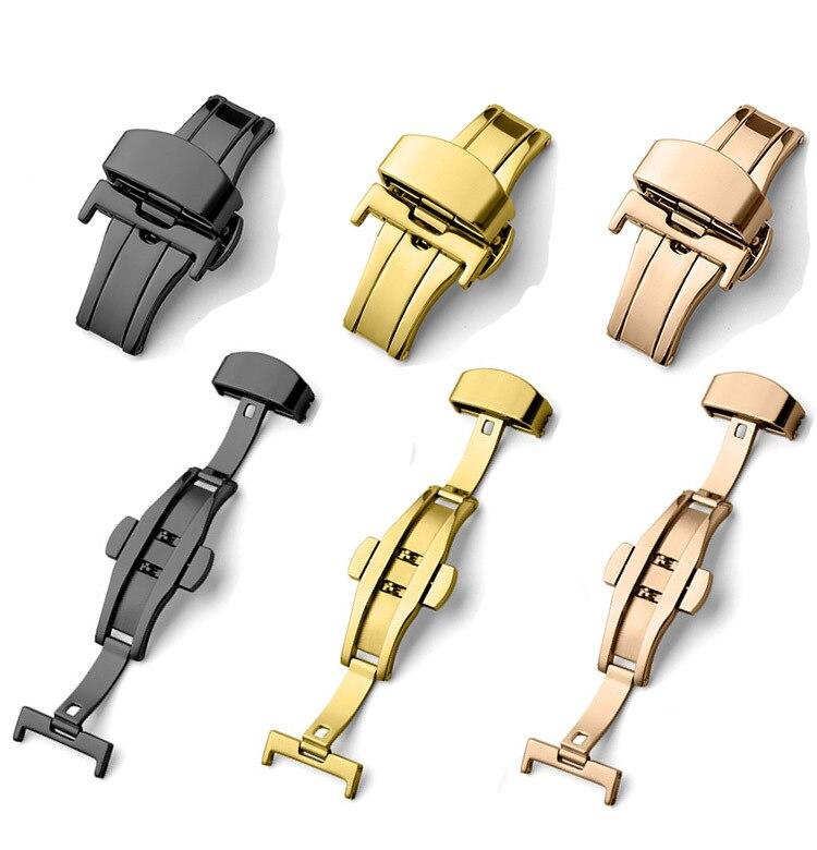 Pulseira de relógio 12 14 16 18 20 22 24mm, fecho de prata, preto, ouro, rosa, dourado, desenvolvimento na borboleta, fivela de relógio, dupla botão de fivela