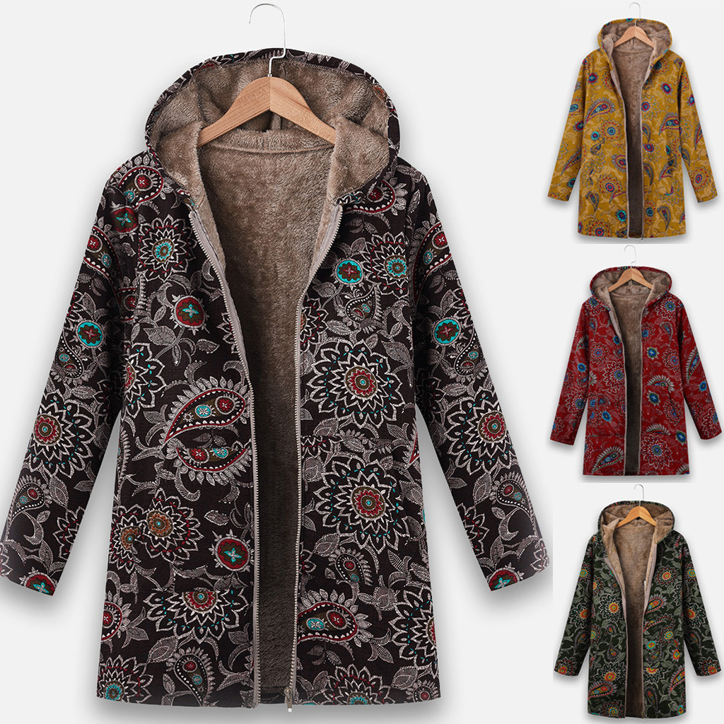 Womail Coats Women's Jackets Winter Hooded Coat Ethnic