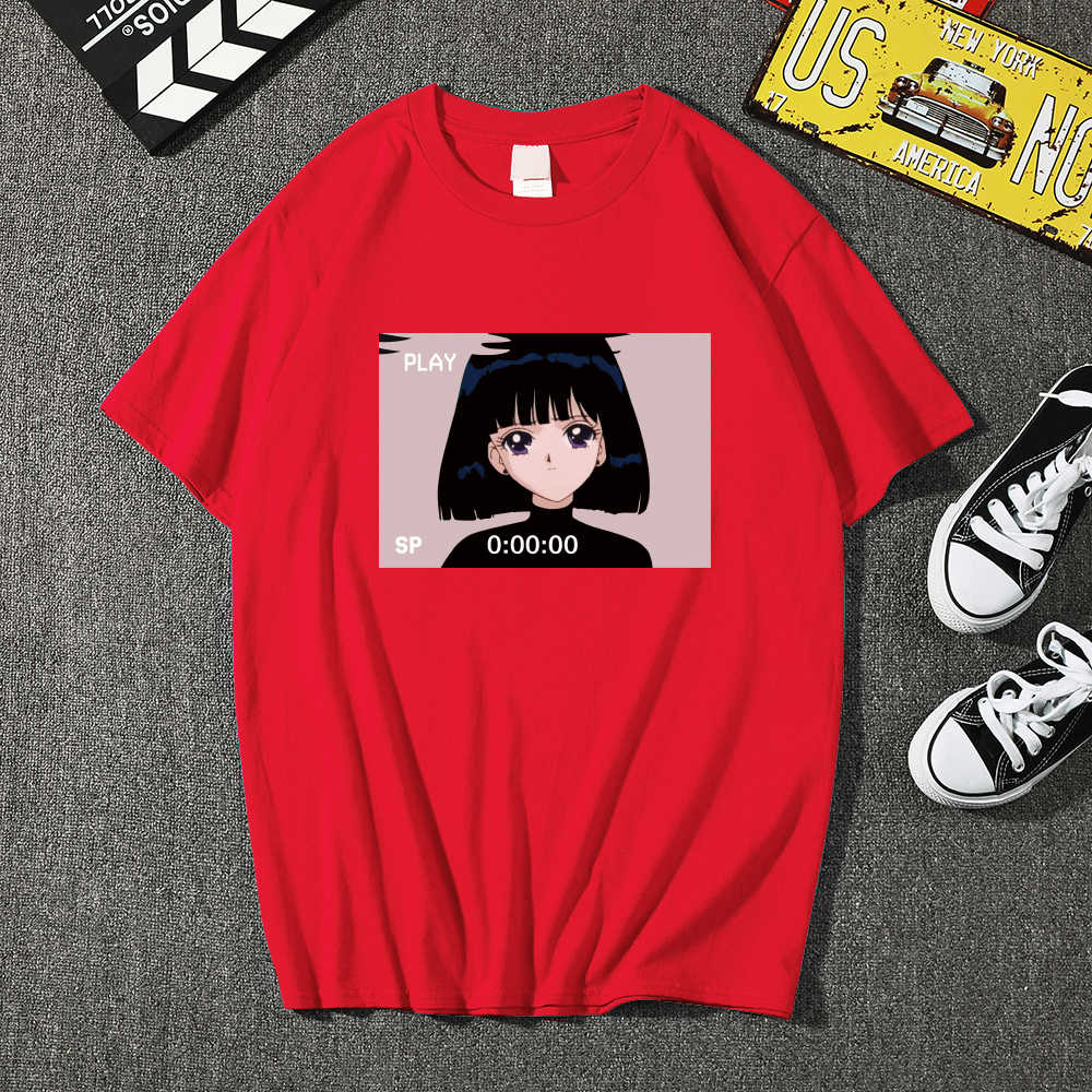 高品質ファッション Sad Girl レトロアニメ Vaporwave Tシャツ男性おかしいトップス Tシャツ原宿 Tシャツストリート