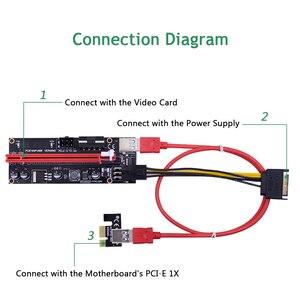 Image 2 - CHIPAL carte Riser double VER009S pcie LED/009S, PCI Express, câble USB 0.6, 1X à 16x3.0 M, alimentation 6 broches, pour Bitcoin Miner