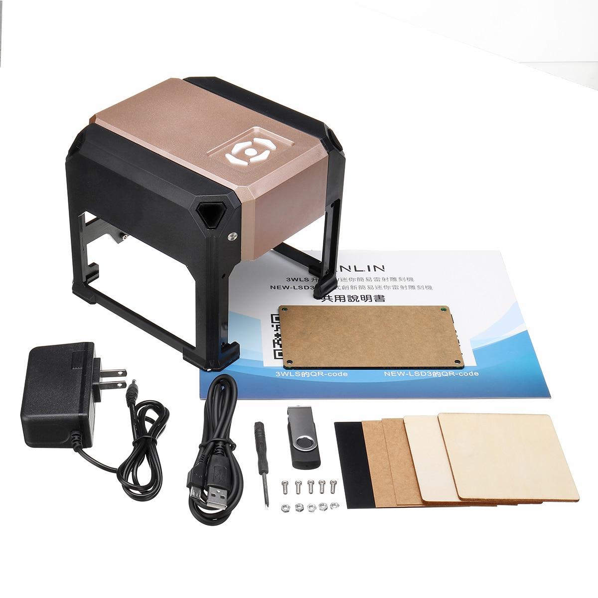 bluetooth Control 3000mW Professional DIY Desktop Mini CNC Laser Engraver Cutter Engraving Wood Cutting Machine Router 110 220V - 2
