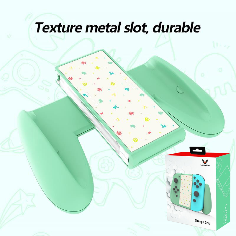 Luky Fox Hand grip  Animal Crossing Charging  Adapter For NS Switch Joy-con  Charging Dock Metal Slot Charger Grip