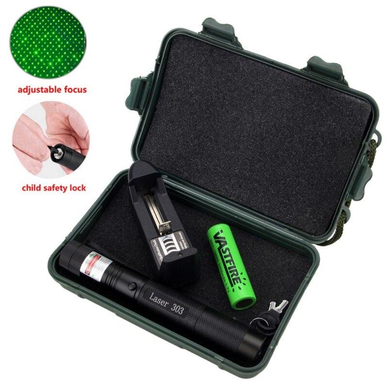 532 nm verde caça laser mira laser ponteiro poderoso dispositivo ajustável foco lazer com laser 303 + carregador 18650 bateria caixa