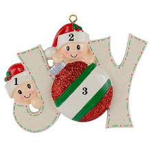 Joy Family Members of 2 Personalized Christmas Holiday Ornaments