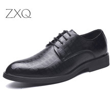Leather Men Shoes Fashion Lace-up Oxford New Dress Footwear Business Office Black Wedding