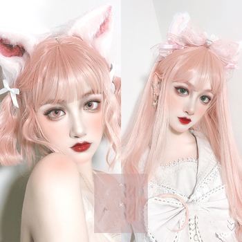 цена на MANWEI 70CM Lolita Long Straight Pink Bangs Heat Resistant Cute Party Synthetic Hair Cosplay Wig