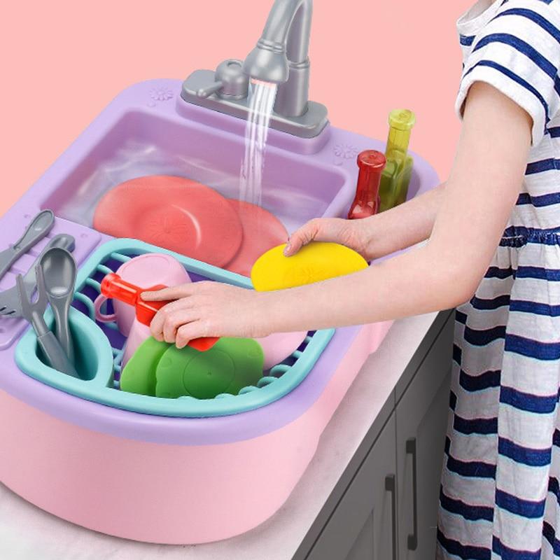 Kids Dishwasher Toys House Recycled Water Washing Basin Kitchenware Children Intelligent Toys Kitchen Simulation