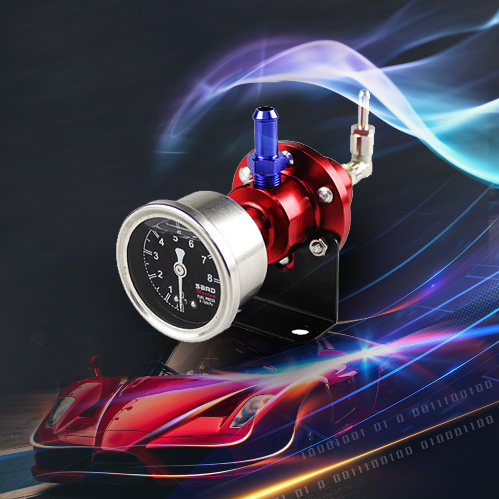 Universal Adjustable Fuel Pressure Regulator with Original Gauge and Instructions Logo RS-FRG002