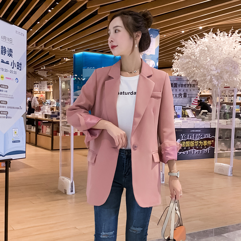 Korean Pink Casual Ladies Blazer Stylish Simple Loose Suit Jacket Long Sleeve Blazer Paillette Retro Autumn Women Blazer MM60NXZ