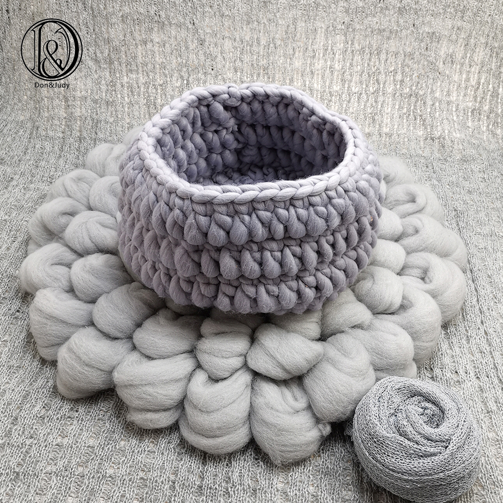 Don&Judy 100% Wool Blanket + Basket +150x100cm Backdrop + 140x30cm Wrap Set Newborn Blanket Background For Photo Shoot Prop