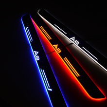 Samochodów LED próg drzwi do Adi A8 4D2 4D8 4E2 4E8 4H2 4H8 4HC 4HL 4N2 4N8 1994   2020 drzwi płyta chroniąca przed zarysowaniem witamy światła samochodów akcesoria